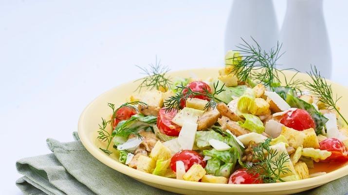Салат цезарь вегетарианский рецепт с фото