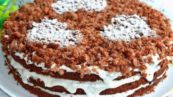 Шоколадно-ореховый торт с бананом