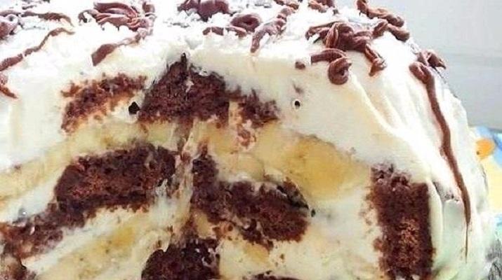 Торт из шоколадных пряников с бананом (без выпечки)