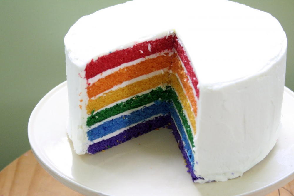 Торт с цветными коржами рецепты с фото